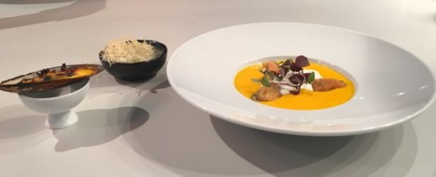 Mussel group variety with pumpkin veloute